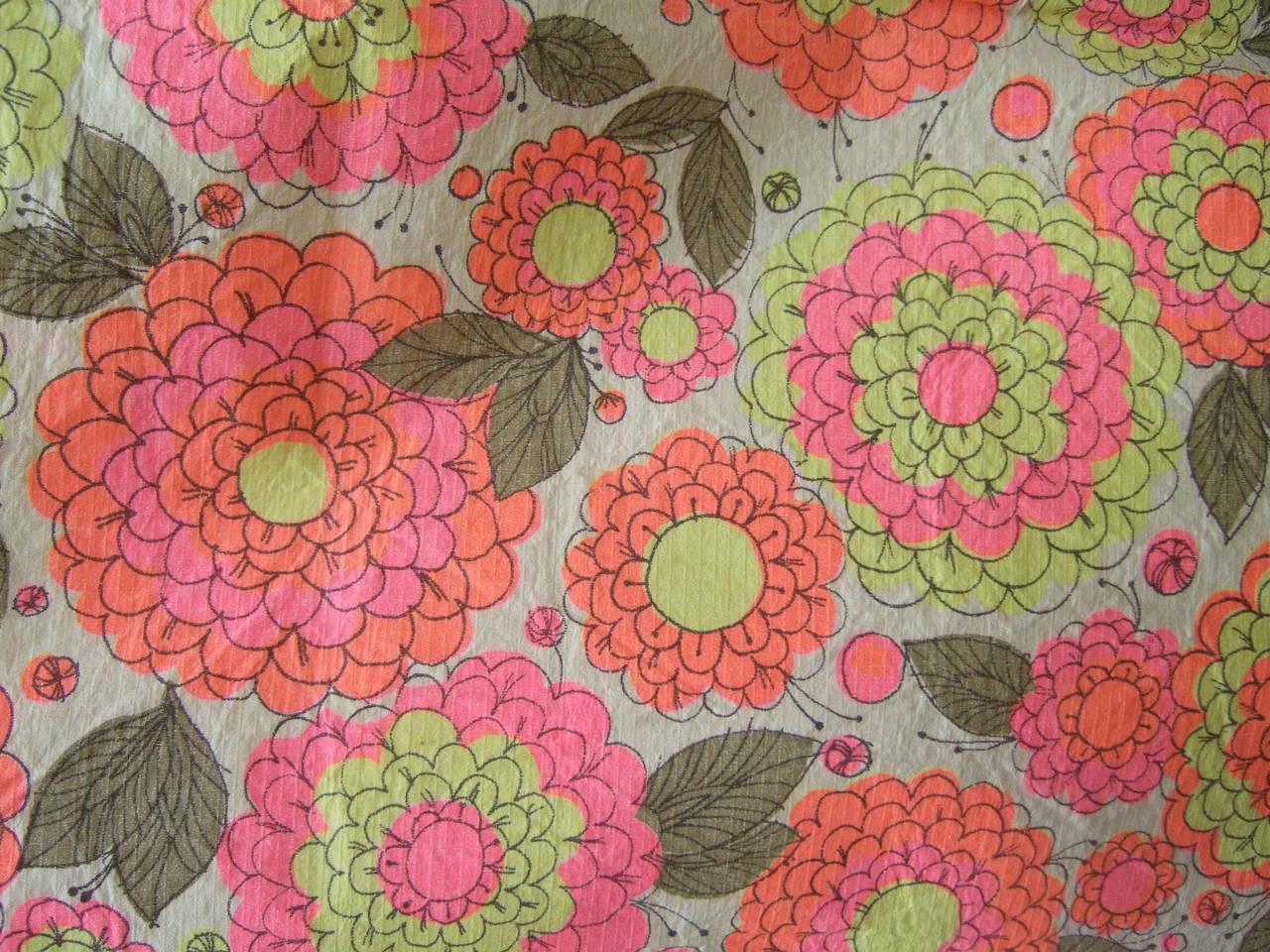 Mod Retro Flower Print Paper Shift Dress C 1960s For Sale At 1stdibs
