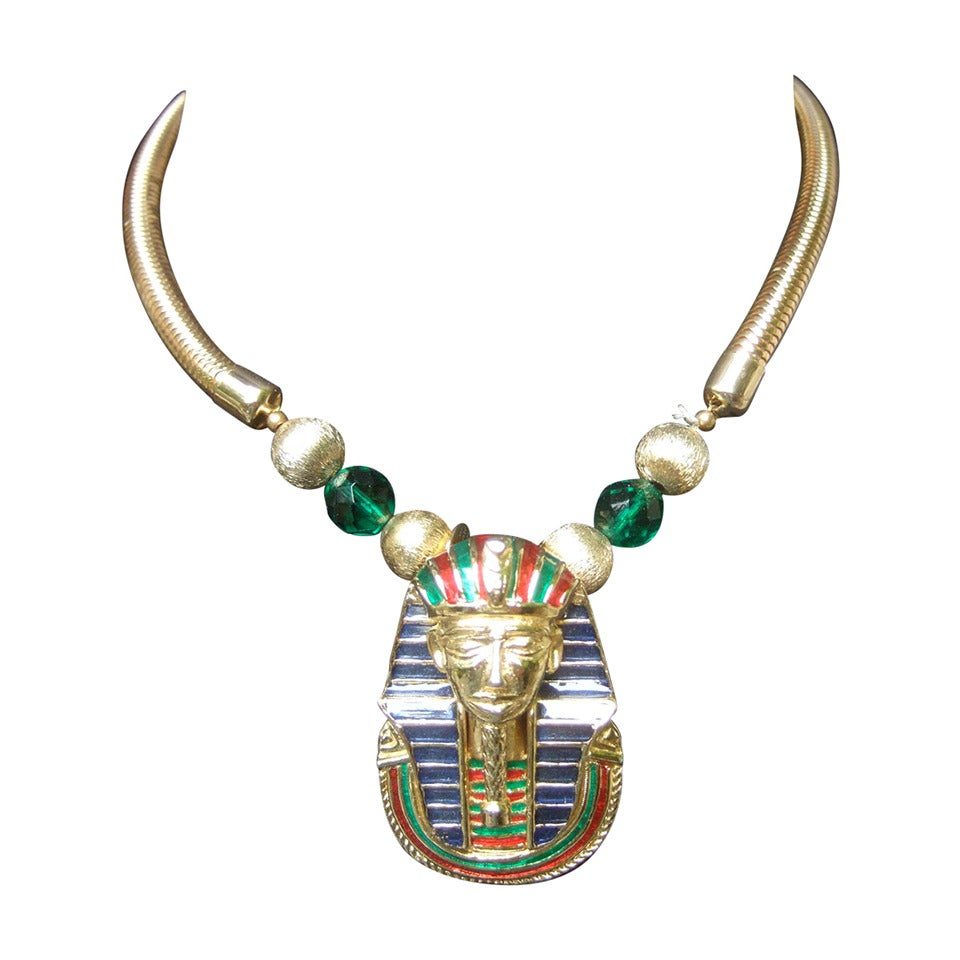 Egyptian Style Gilt Enamel Pharaoh Choker Necklace 1