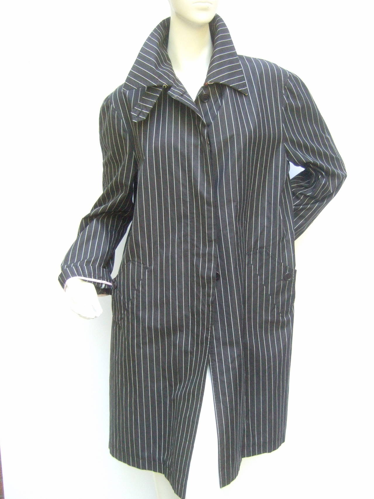 Paul Smith London Black Cotton Pinstriped Coat Size 48 6