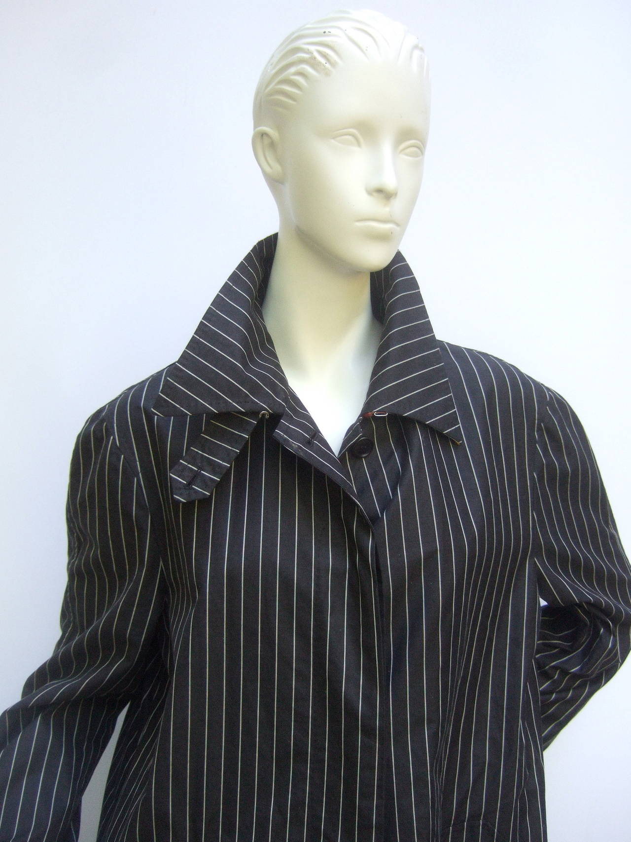 Paul Smith London Black Cotton Pinstriped Coat Size 48 5