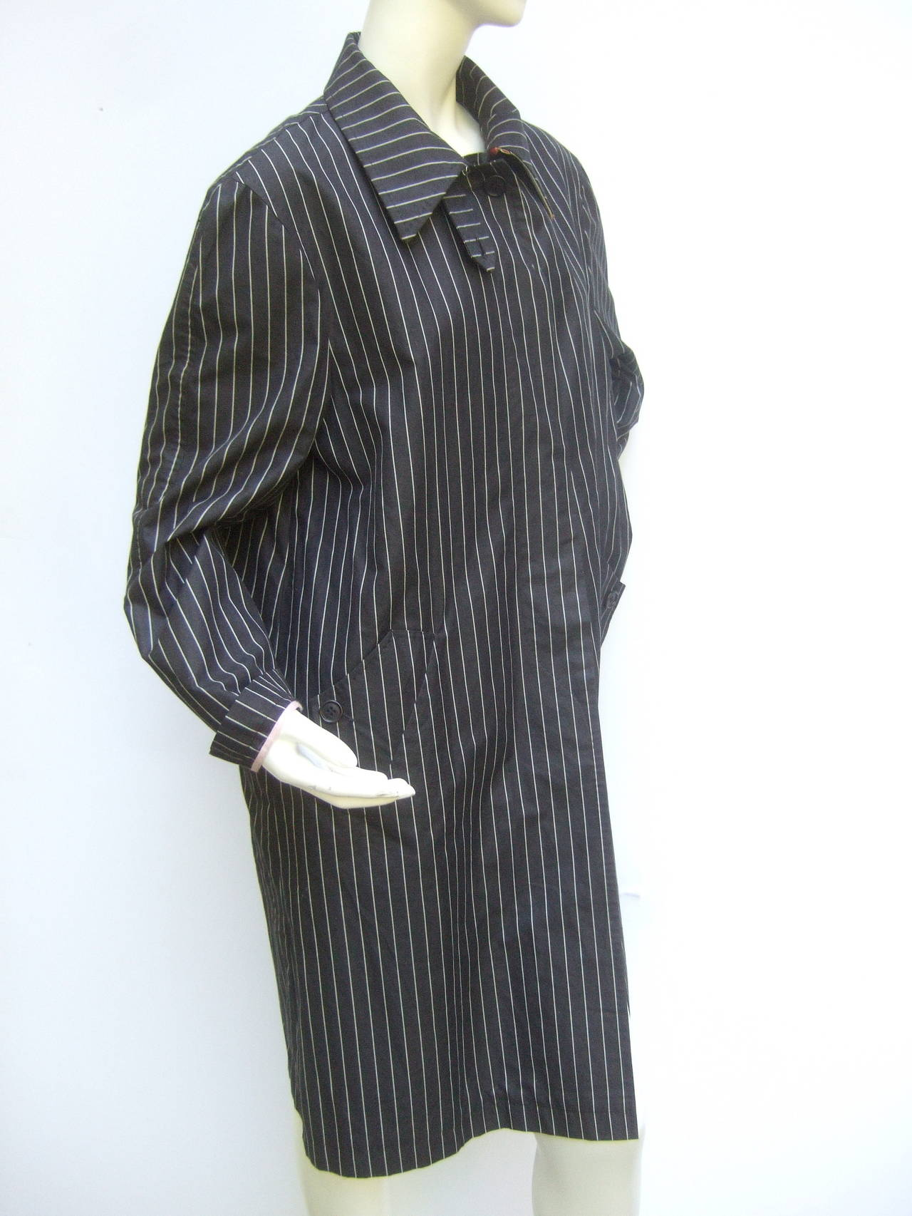 Paul Smith London Black Cotton Pinstriped Coat Size 48 8