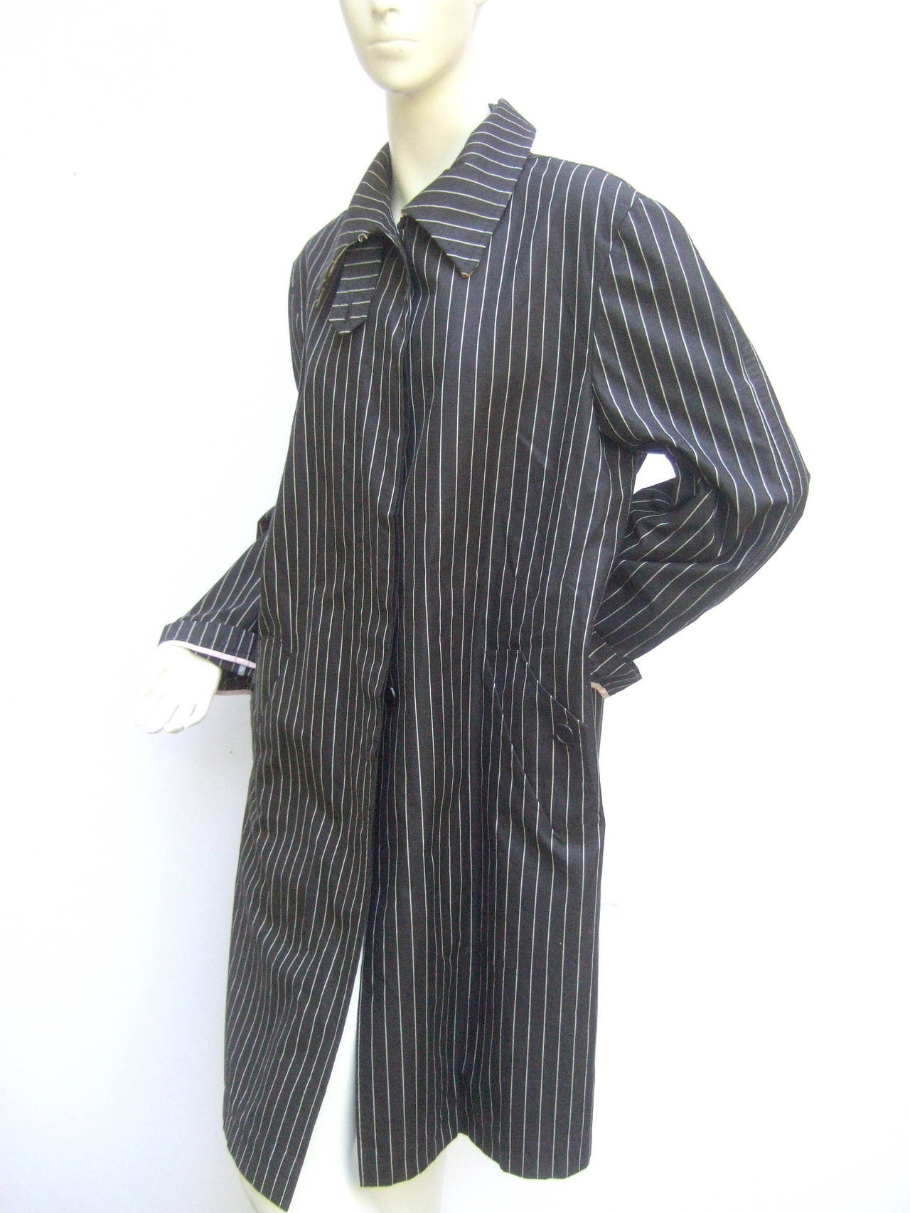 Paul Smith London Black Cotton Pinstriped Coat Size 48 2