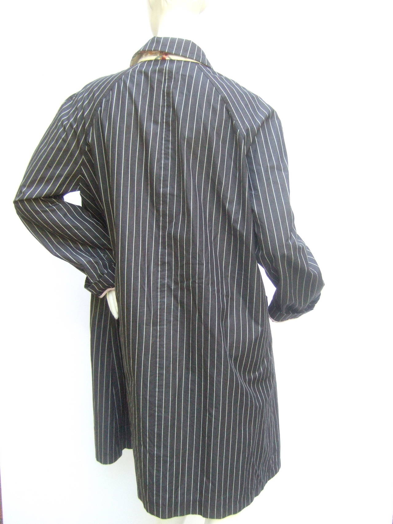 Paul Smith London Black Cotton Pinstriped Coat Size 48 7