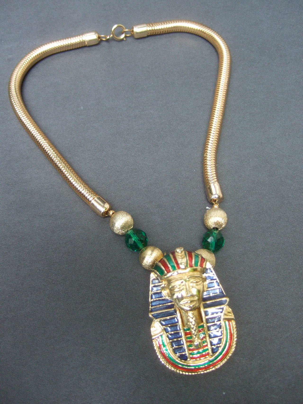 Egyptian Style Gilt Enamel Pharaoh Choker Necklace 5