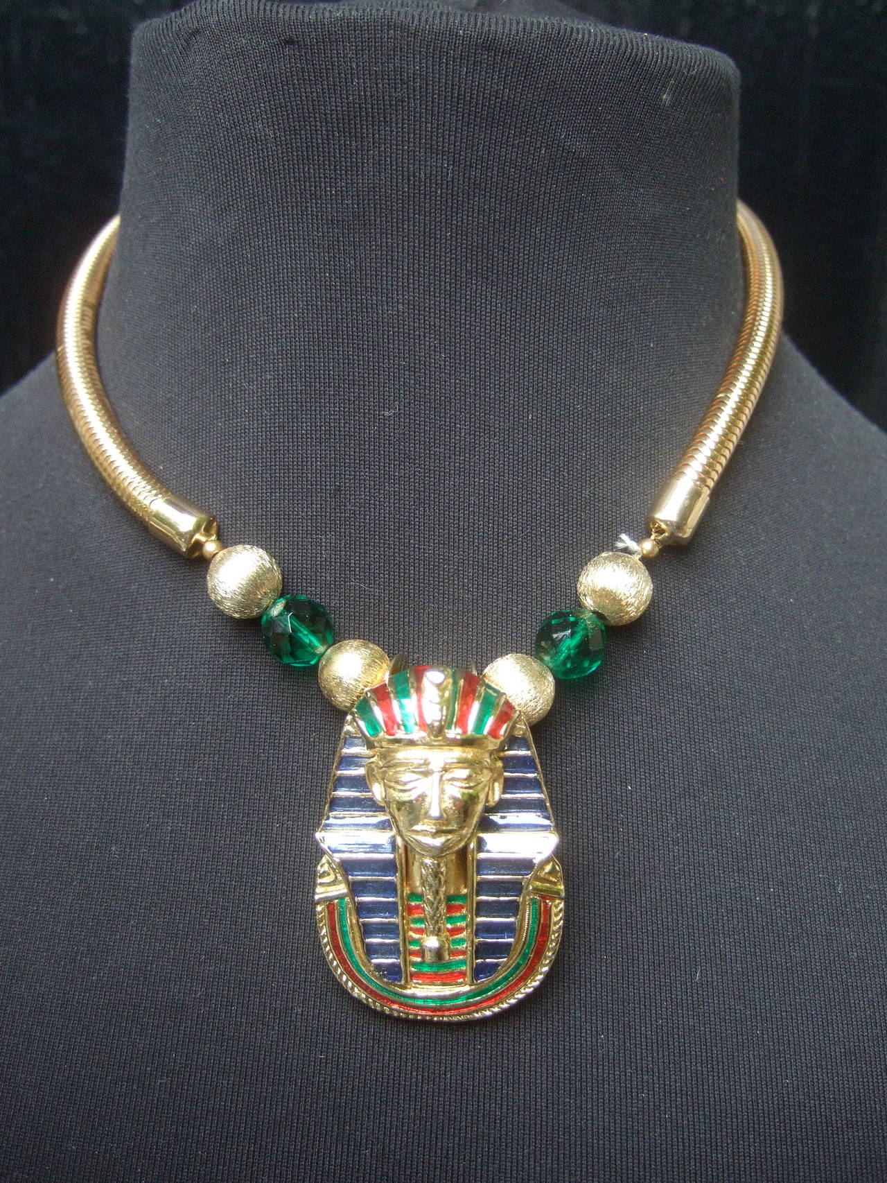 Egyptian Style Gilt Enamel Pharaoh Choker Necklace 2