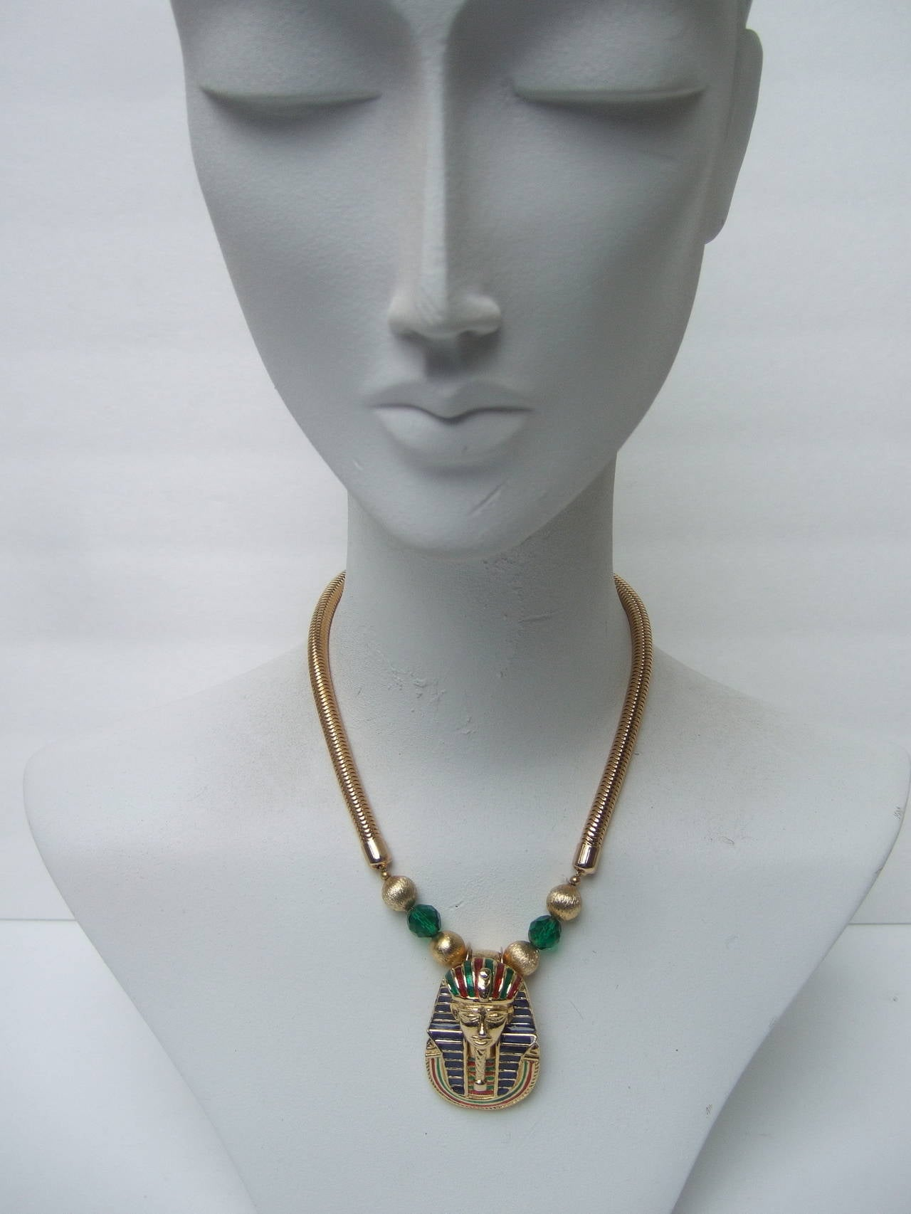 Egyptian Style Gilt Enamel Pharaoh Choker Necklace 6