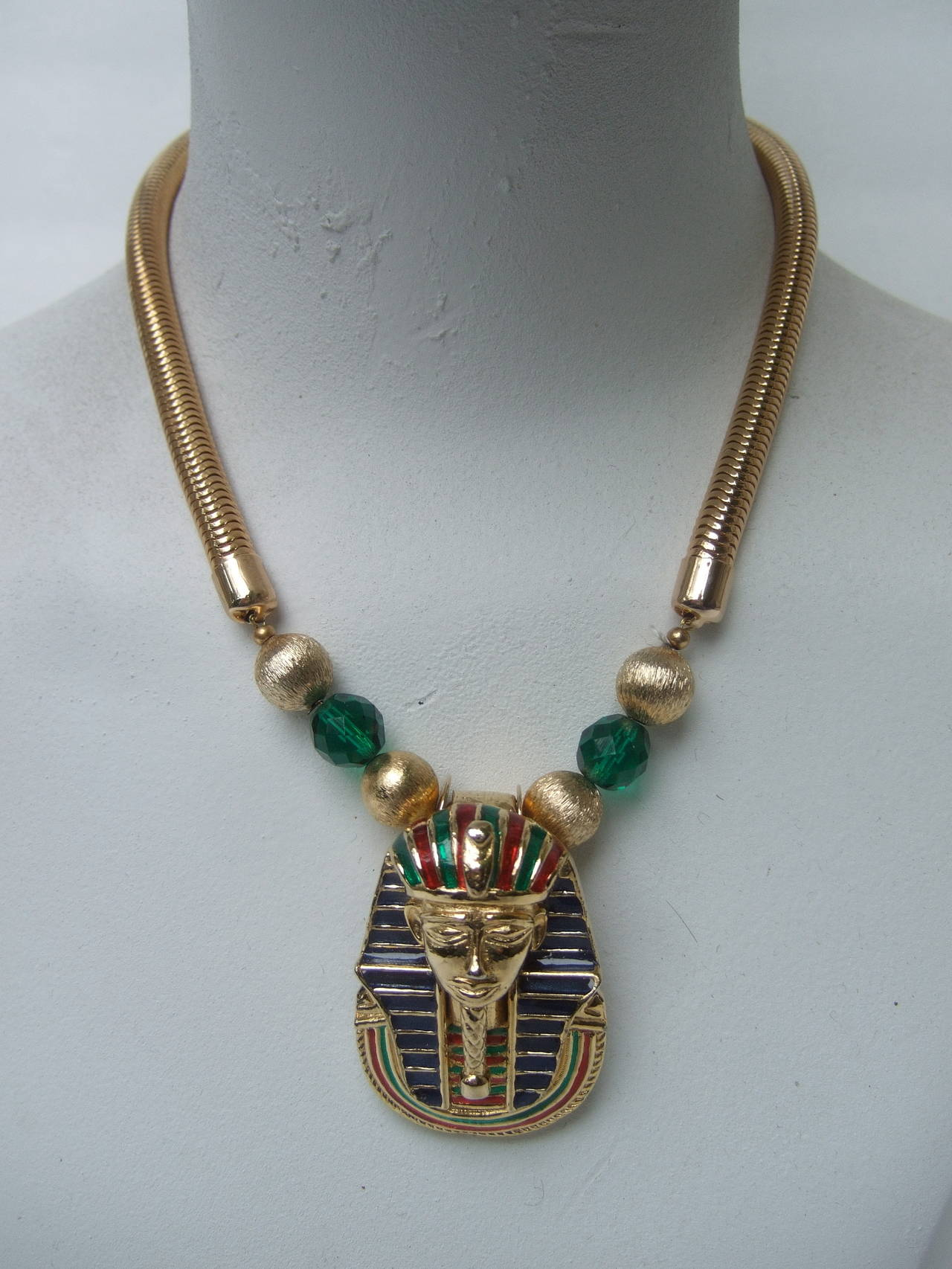 Egyptian Style Gilt Enamel Pharaoh Choker Necklace 4