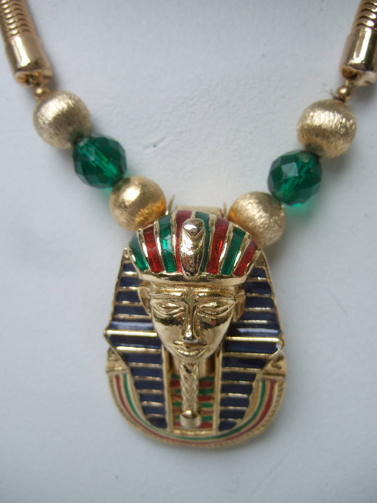 Egyptian Style Gilt Enamel Pharaoh Choker Necklace 3
