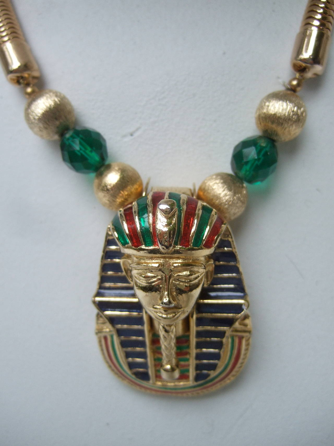 Egyptian Style Gilt Enamel Pharaoh Choker Necklace 8