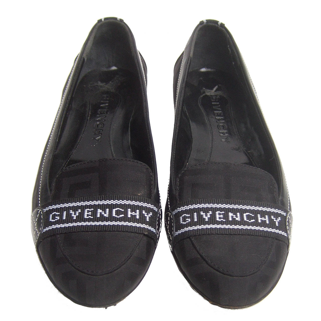 Givenchy Black Canvas Skimmer Flats Made in Italy Size 38.5 For Sale