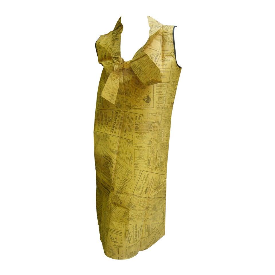 1960s Mod Avant Garde News Paper Sheath Dress