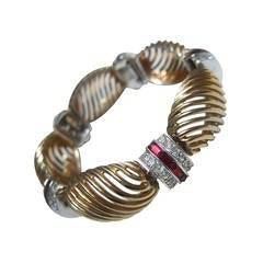 Art Deco Elegant Crystal Jeweled Gilt Metal Bracelet c 1950