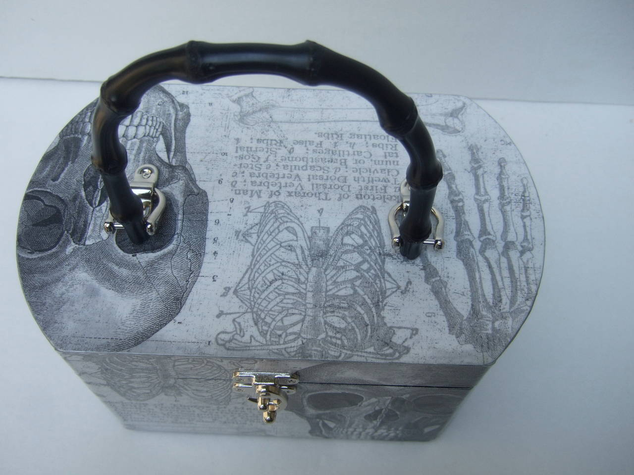 Women's Avant Garde Decoupage Artisan Skeleton Box Style Handbag For Sale