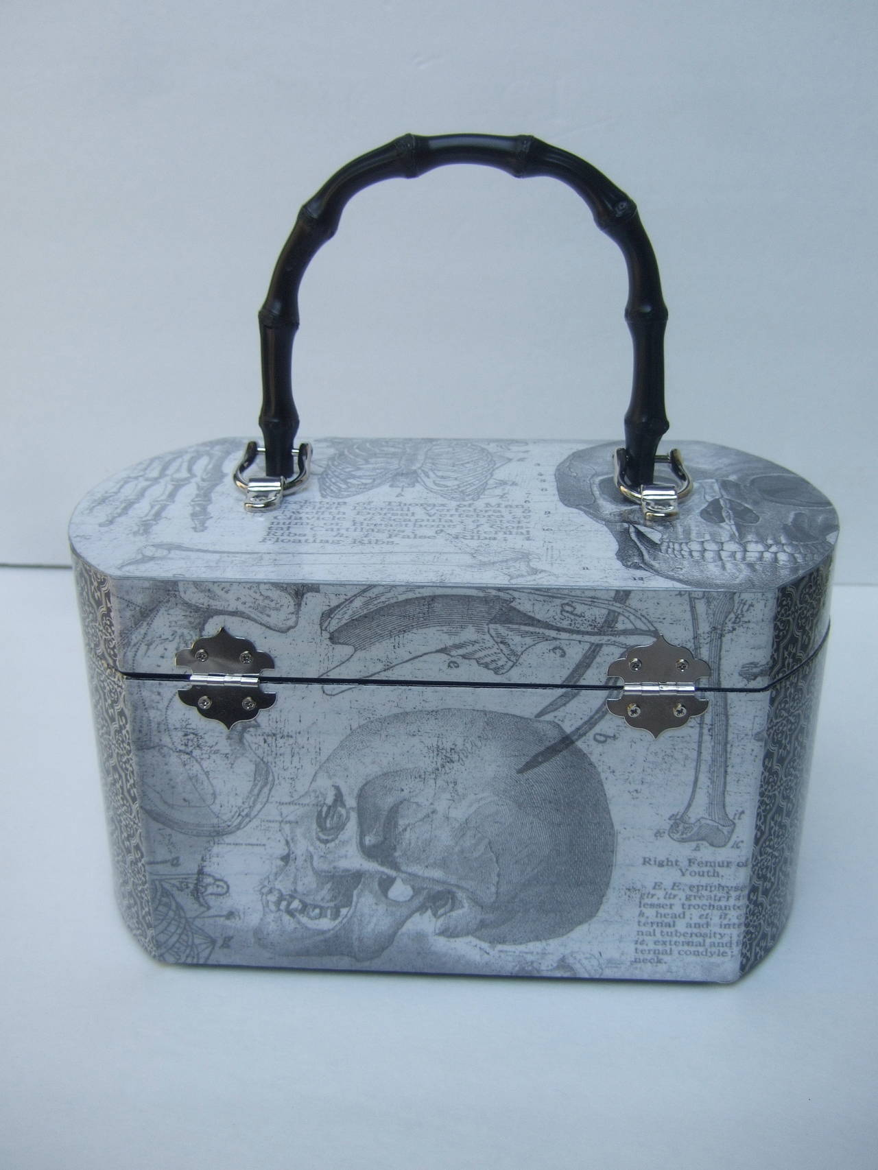 Gray Avant Garde Decoupage Artisan Skeleton Box Style Handbag For Sale
