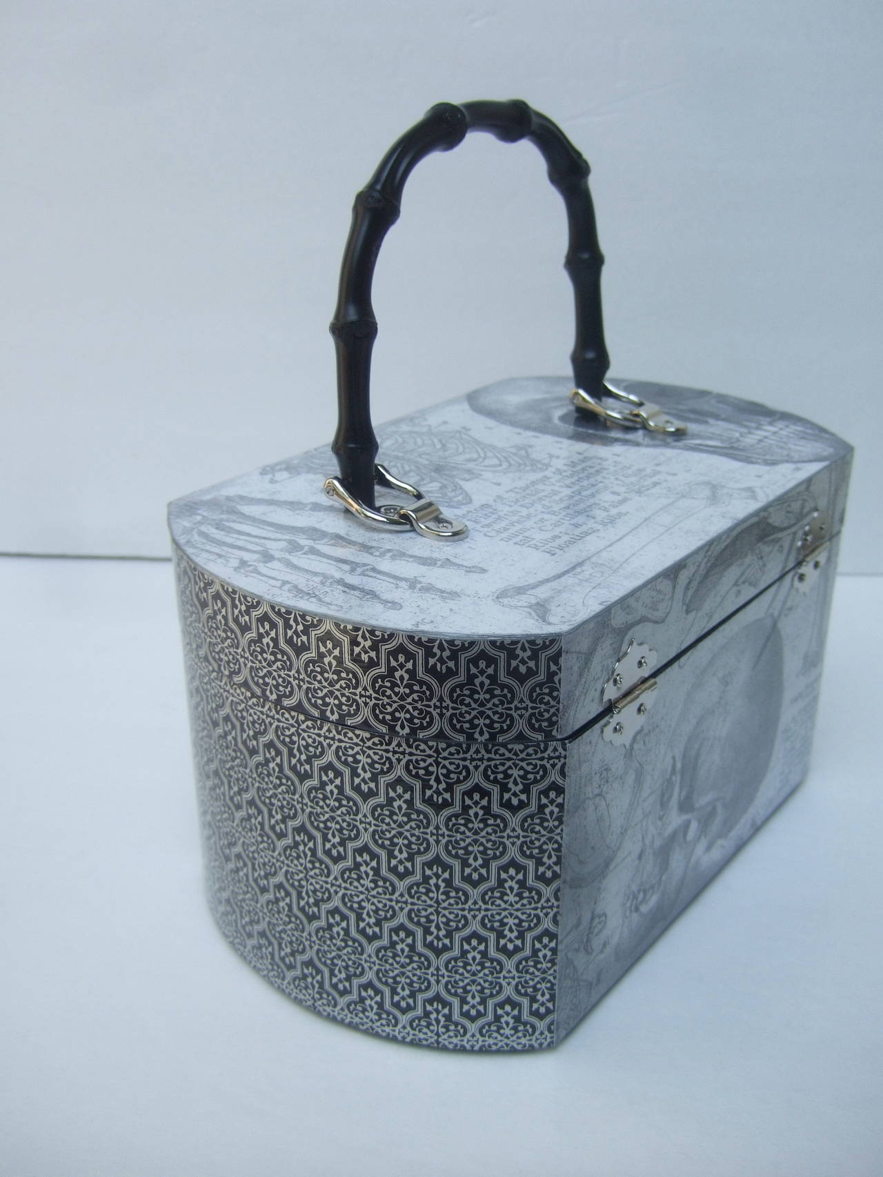 Avant Garde Decoupage Artisan Skeleton Box Style Handbag For Sale 3