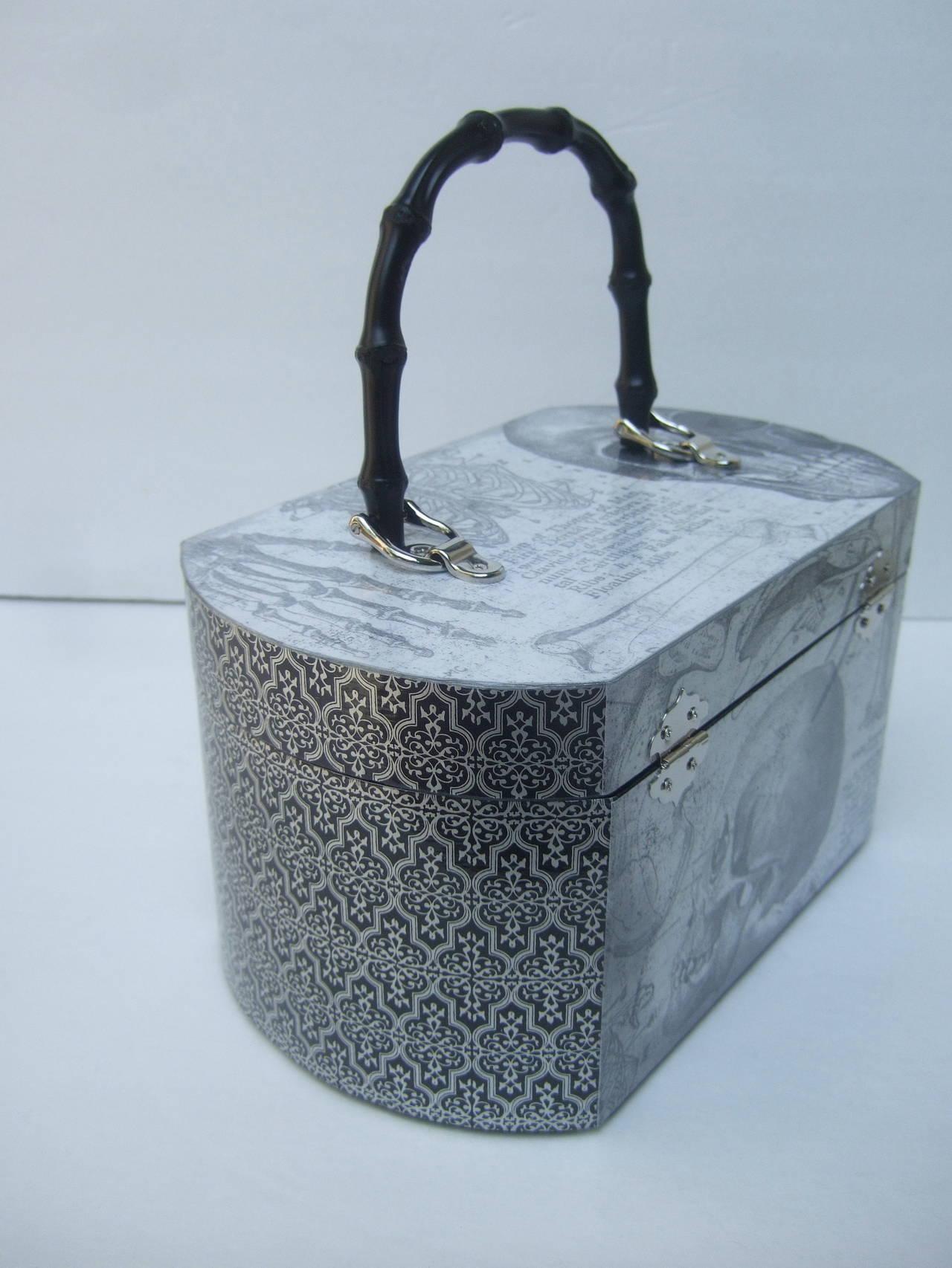 Avant Garde Decoupage Artisan Skeleton Box Style Handbag 8
