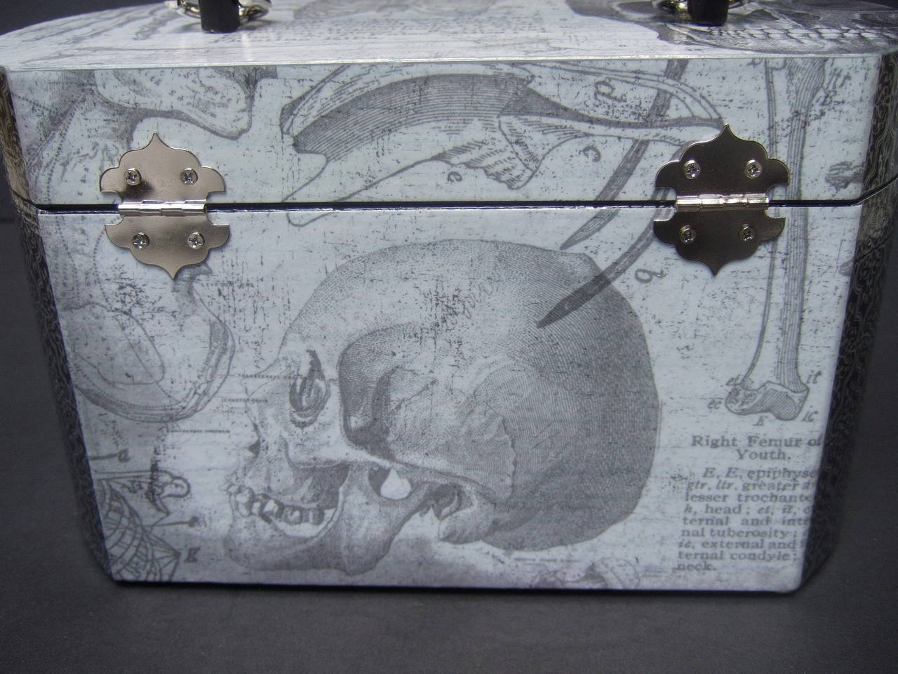 Avant Garde Decoupage Artisan Skeleton Box Style Handbag For Sale 1