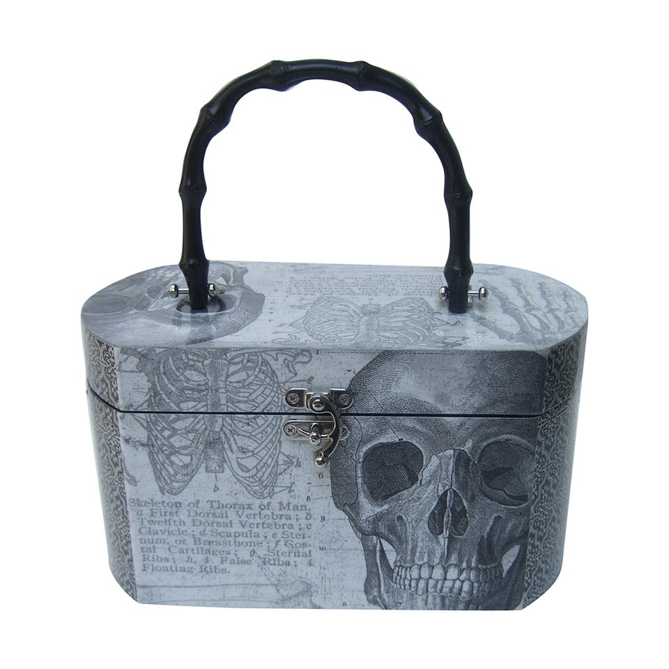 Avant Garde Decoupage Artisan Skeleton Box Style Handbag For Sale