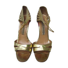 Maud Frizon Paris Gold Leather Strappy Heels Made in Italy Size 37 1/2