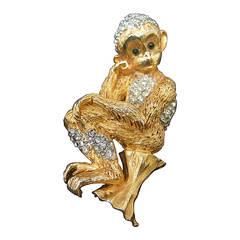 Whimsical Jeweled Gilt Metal Monkey Brooch c 1960