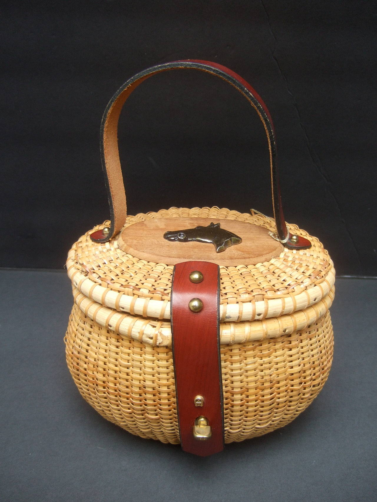 Oval wicker basket equestrian theme handbag c 1970s