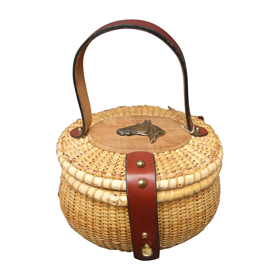 Oval Wicker Basket Equestrian Theme Handbag c 1970s For Sale