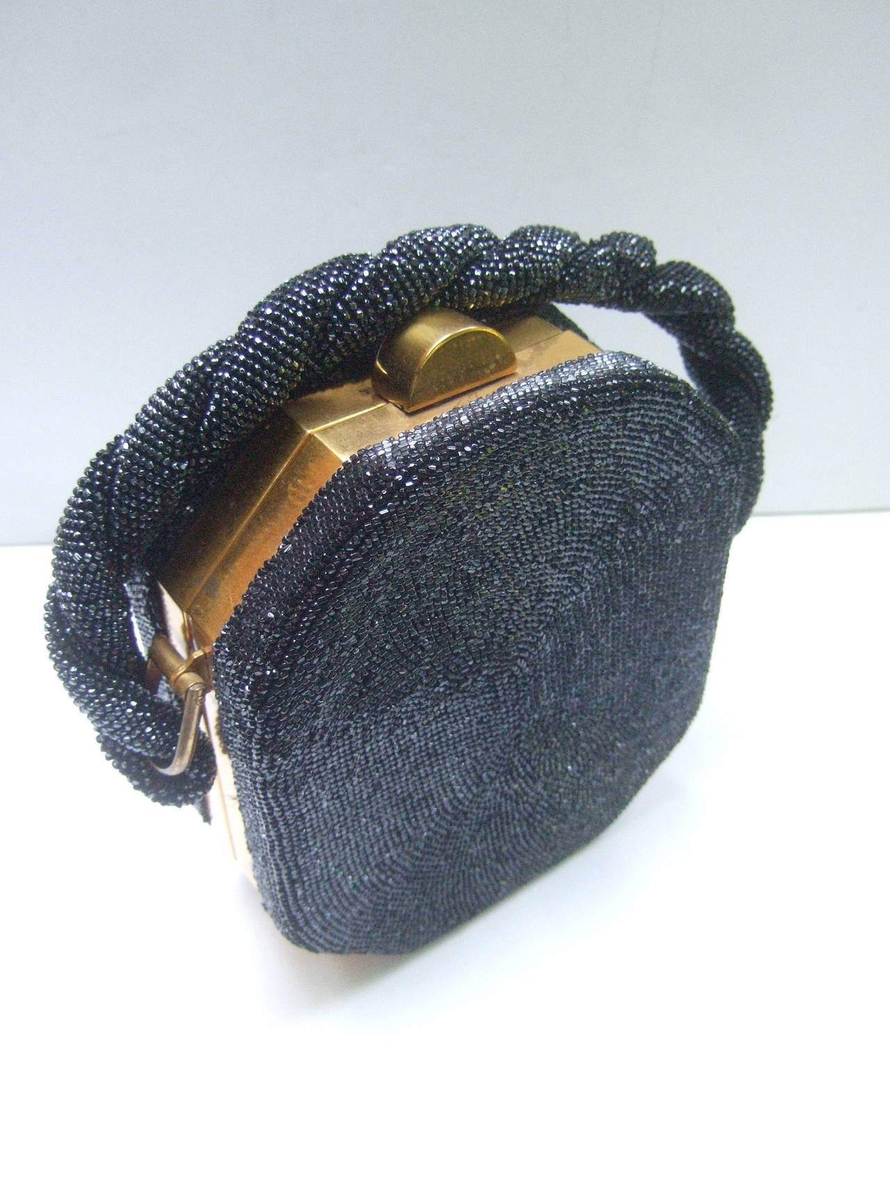 1stdibs 1940s Art Deco Black Carnival Glass Beaded Handbag HHj5o9J2
