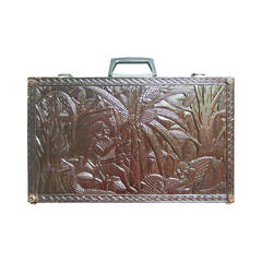 Exotic Wood Hand Carved Tropical Jungle Brief Case c 1970s