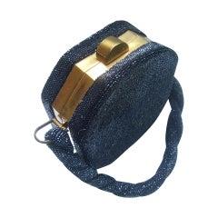 1940s Art Deco Black Carnival Glass Beaded Handbag