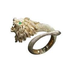 Ornate Gilt Metal Lion Bracelet Designed by Les Bernard c 1970s