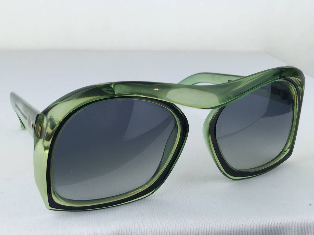 Gray 1970's Christian Dior Mint Green Sunglasses. For Sale