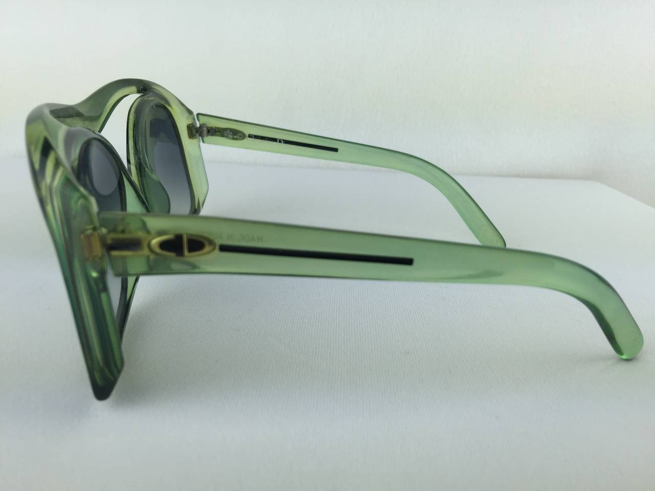 Women's or Men's 1970's Christian Dior Mint Green Sunglasses. For Sale
