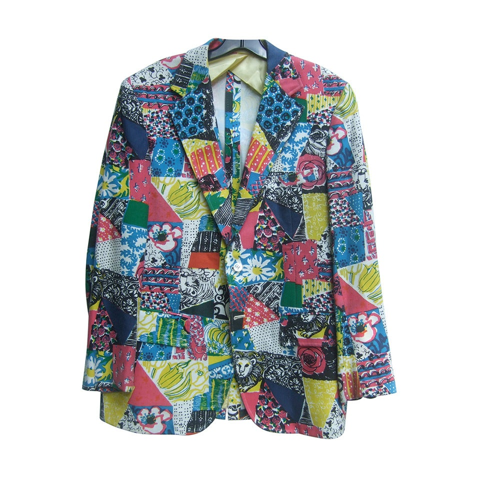 Lilly Pulitzer Men's Whimsical Print Resort Jacket c 1970s
