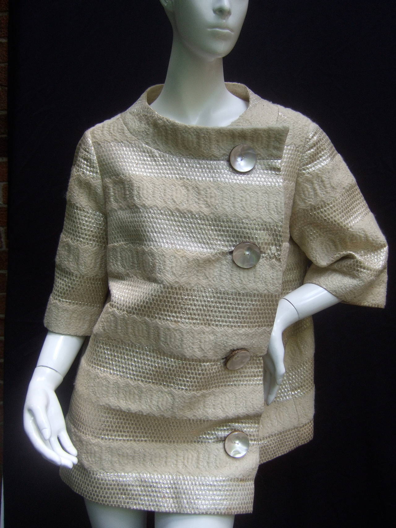 Harrods Metallic Knit Silk Brocade Evening Jacket c 1960 at 1stdibs