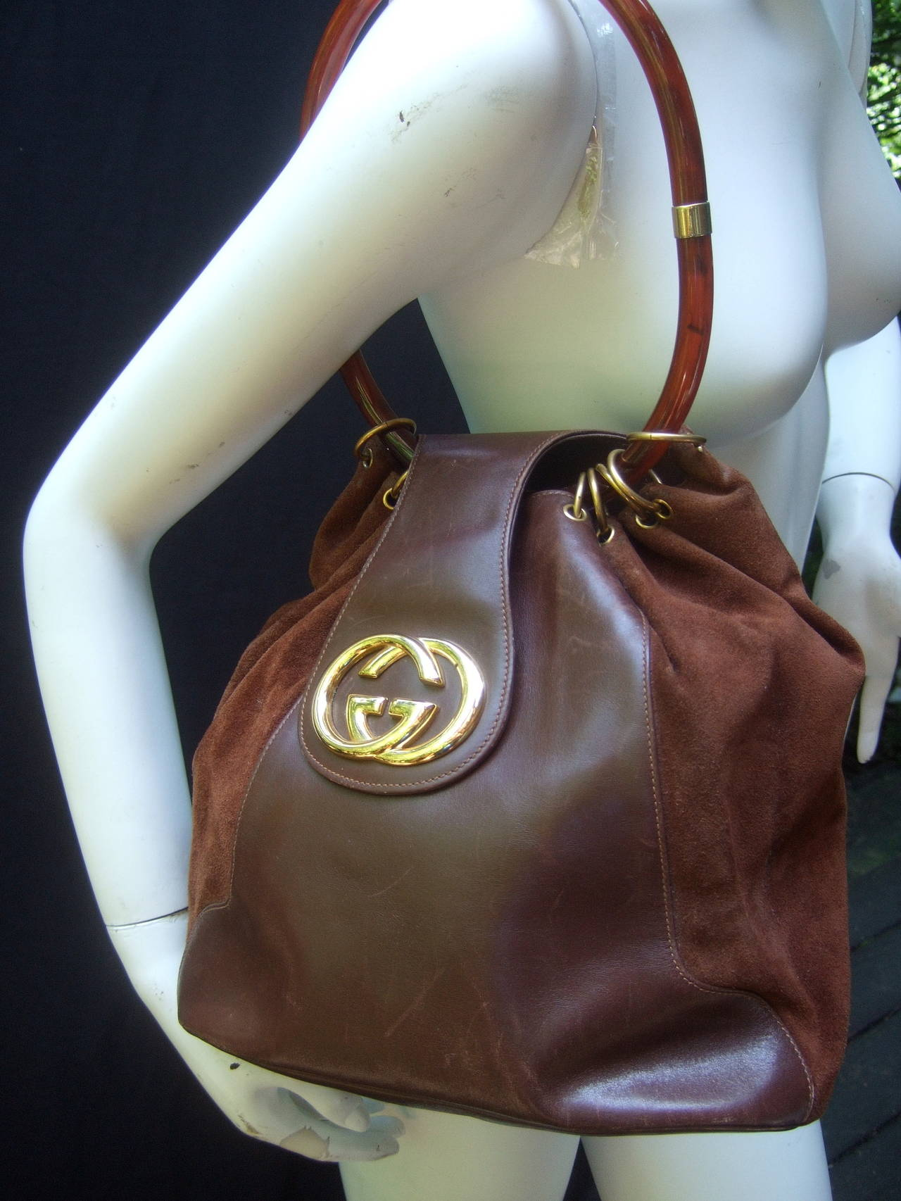 Gucci Italy Rare Brown Leather And Suede Handbag C 1970 At
