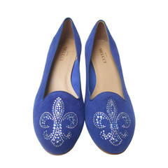Crystal Jeweled Fleur di Lis Peacock Blue Suede Flats Made in Italy US Size 10 M