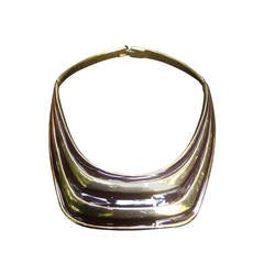 Alexis Kirk Sleek Brown & Gilt Enamel Choker Necklace Set c 1980