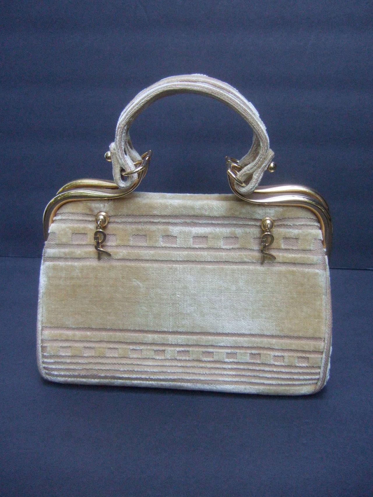 Roberta Di Camerino Champagne Color Cut Velvet Handbag C