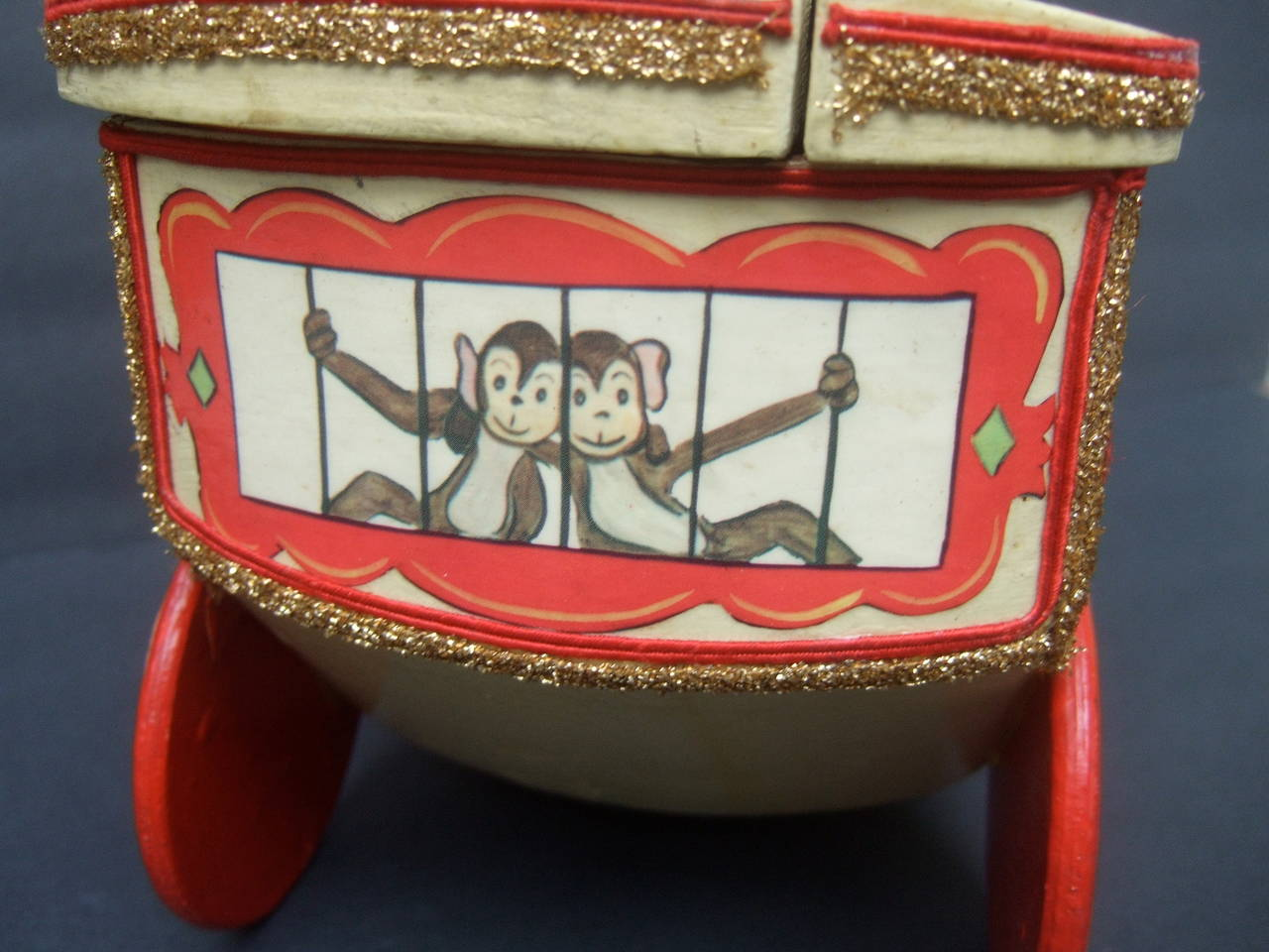 Whimsical Monkey Circus Theme Decoupage Handbag c 1970 6