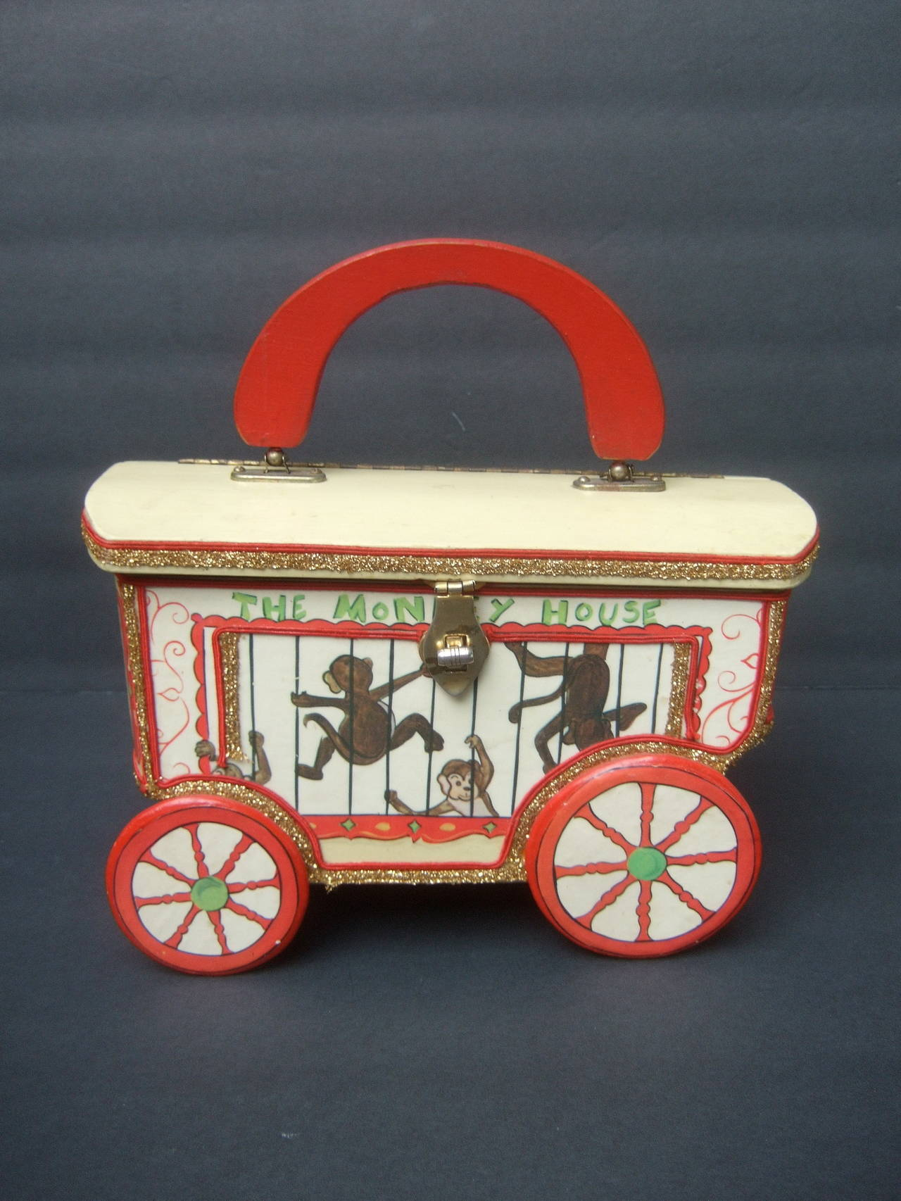 Whimsical Monkey Circus Theme Decoupage Handbag c 1970 4