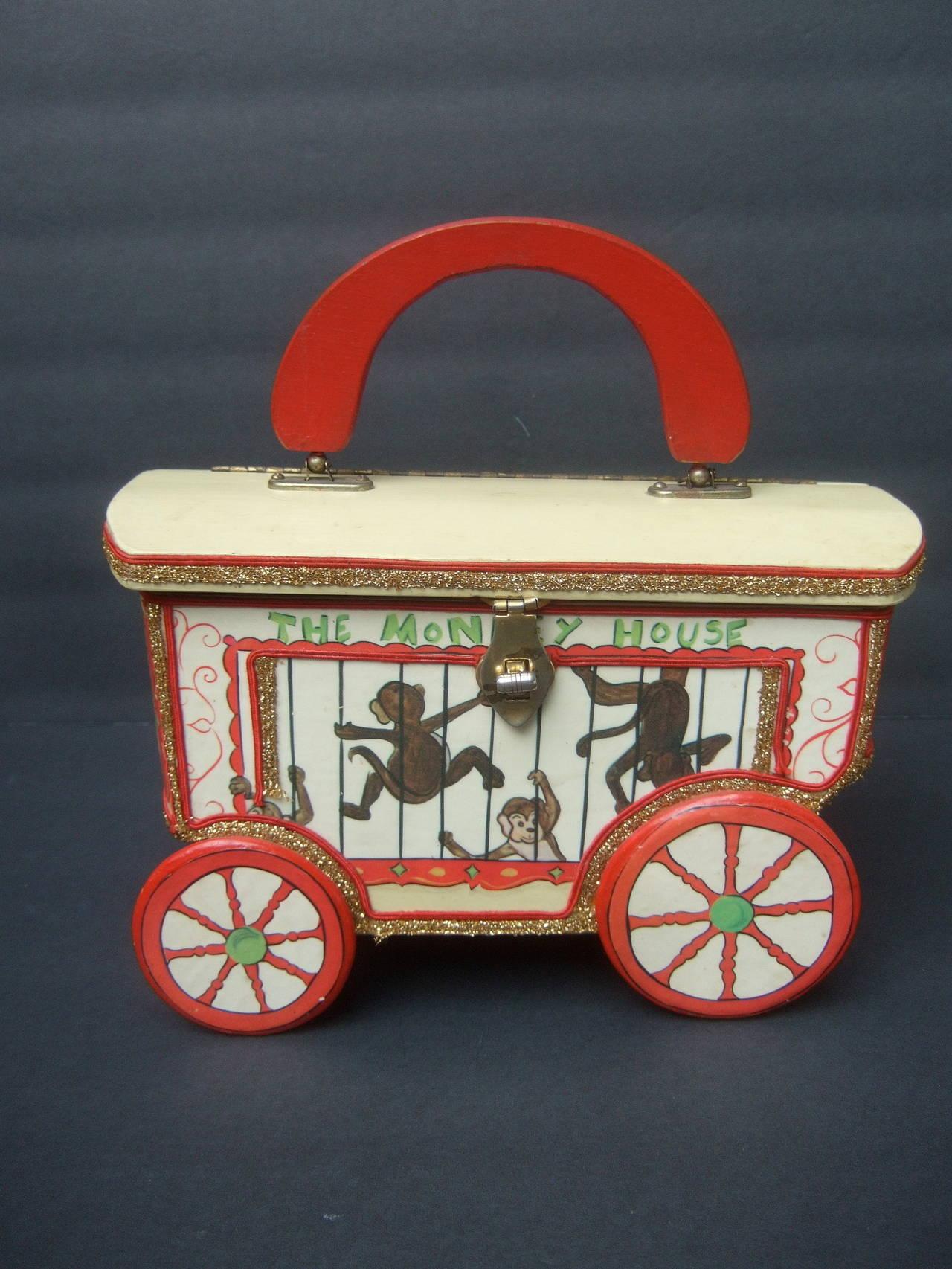 Whimsical Monkey Circus Theme Decoupage Handbag c 1970 9