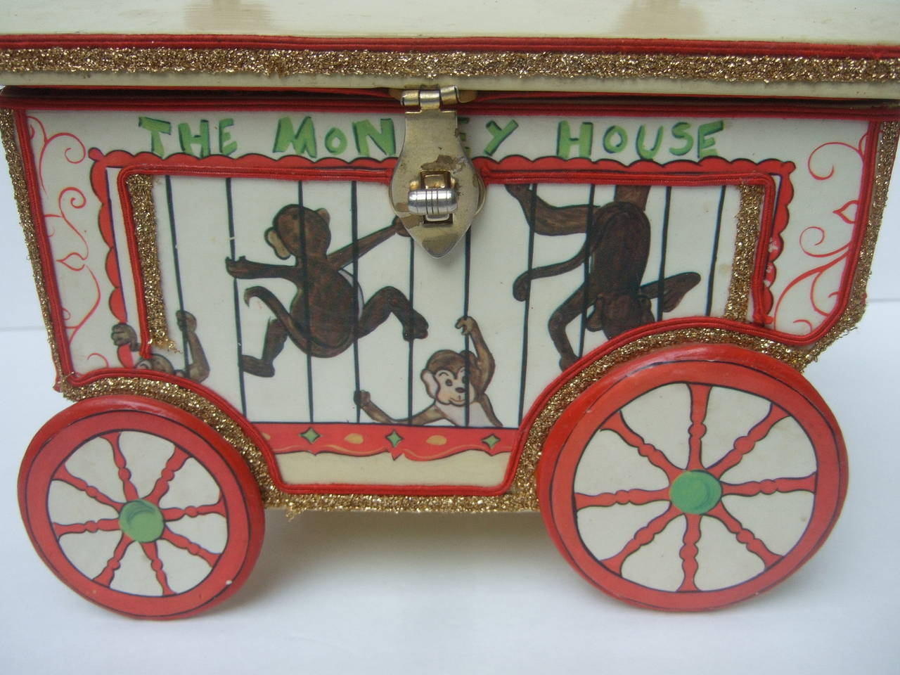 Whimsical Monkey Circus Theme Decoupage Handbag c 1970 8