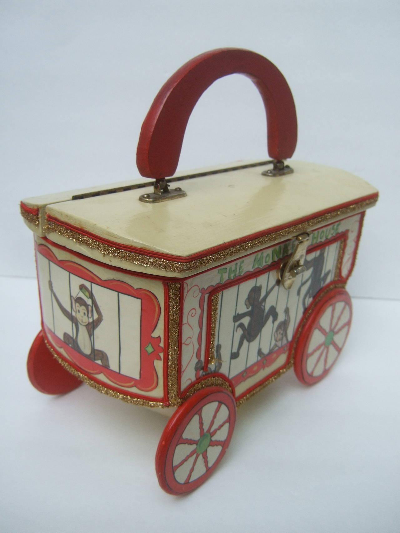 Whimsical Monkey Circus Theme Decoupage Handbag c 1970 5