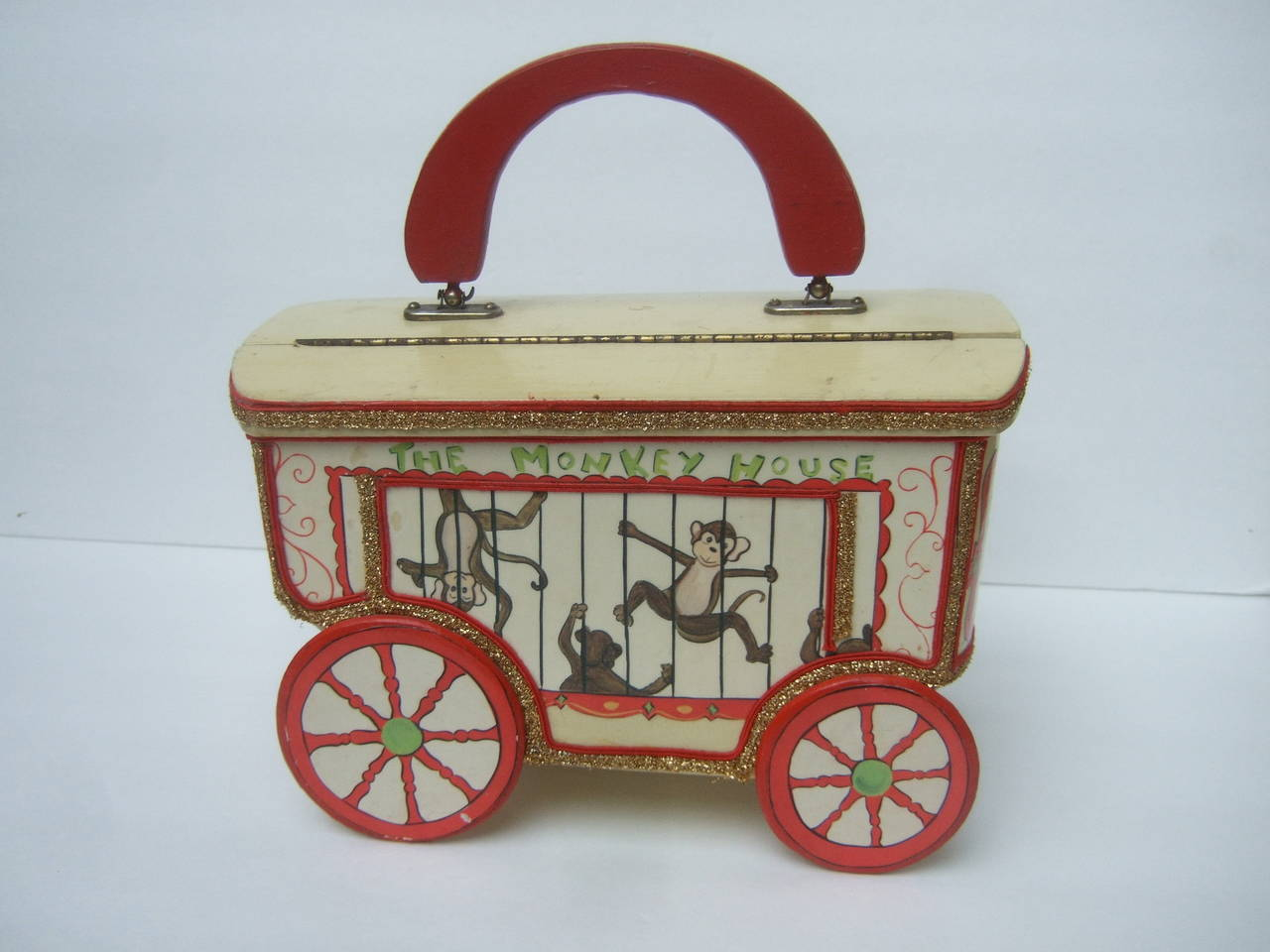 Whimsical Monkey Circus Theme Decoupage Handbag c 1970 7