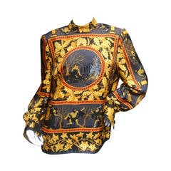 Stunning Hermes Mythical Gods of Greece Silk Blouse c 1980s