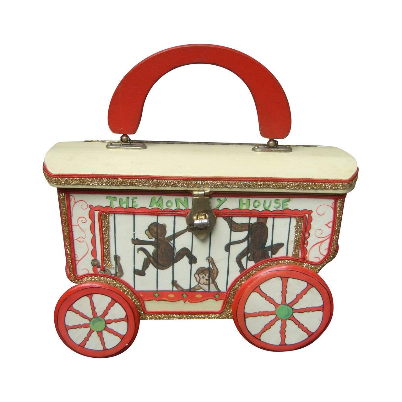 Whimsical Monkey Circus Theme Decoupage Handbag c 1970 1