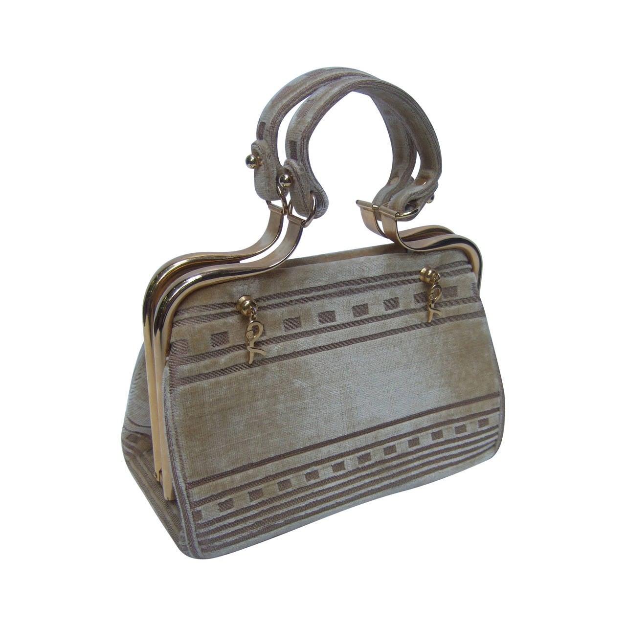 Roberta di Camerino Champagne Color Cut Velvet Handbag c ...