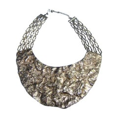 Massive Hammered Gilt Metal Collar Necklace c 1970