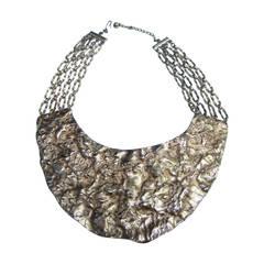 Massive Hammered Gilt Metal Collar Necklace c 1970