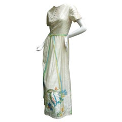 Exotic Oyster Silk Embroidered Gown from India for Bonwit Teller c 1970